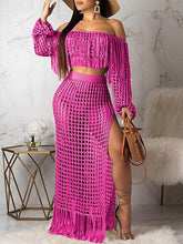 Load image into Gallery viewer, Mesh Tassels Crop Top & Skirt Set