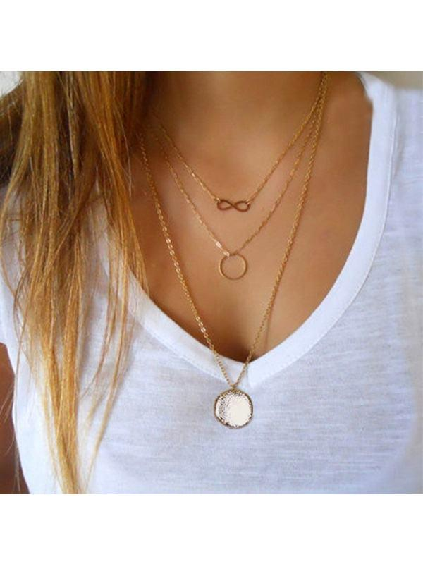 Circle and Eight Layer Necklace