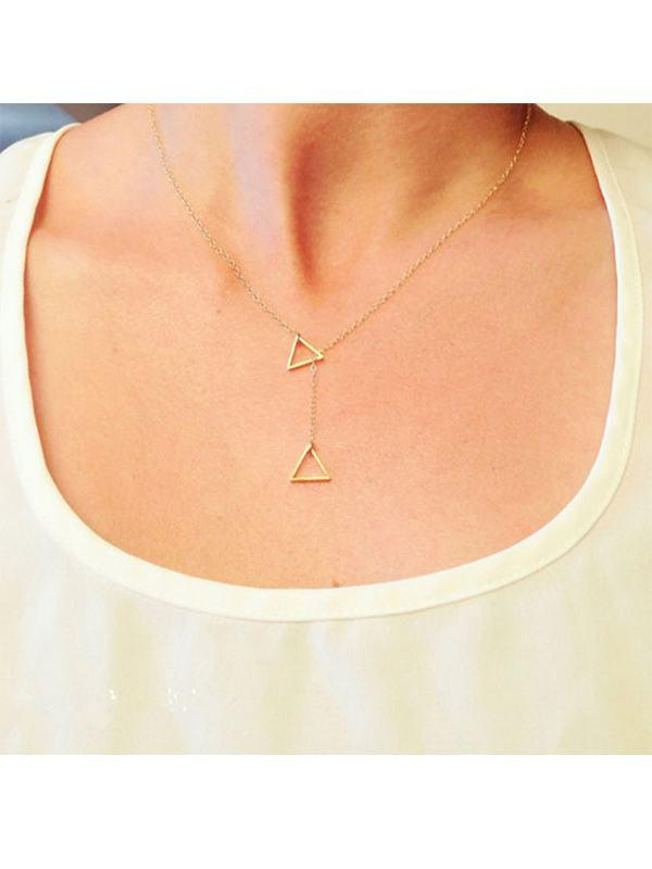 Geometric Triangle Simple Silver Metal Necklace