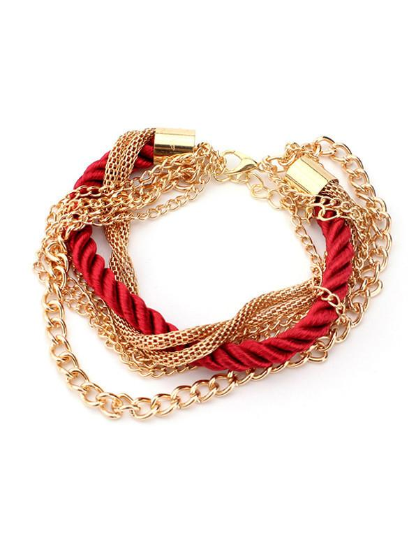 Layered Metal Chain Braided Bracelet