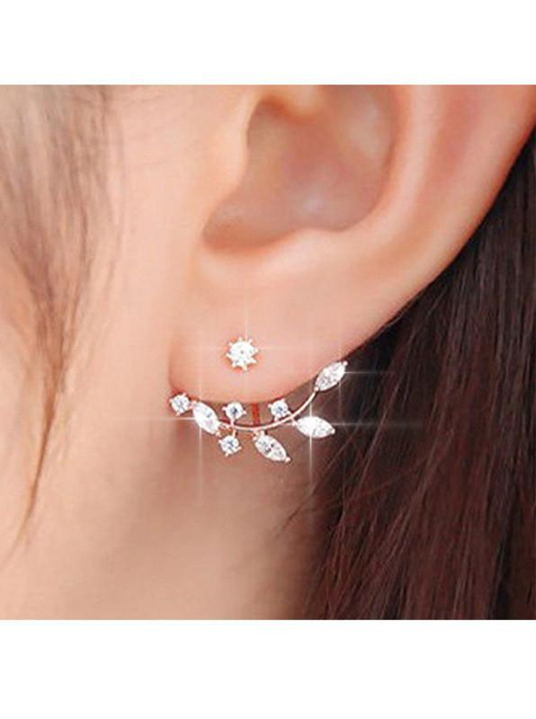 Rhinestone Decorated Cutout Design Gold Earrings