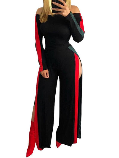 Jumpsuits - Bardot Top Slit Wide Leg Jumpsuit