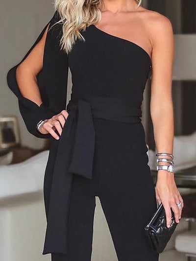 Jumpsuits - Black Stylish One Shoulder Slit Sleeve Jumpsuit