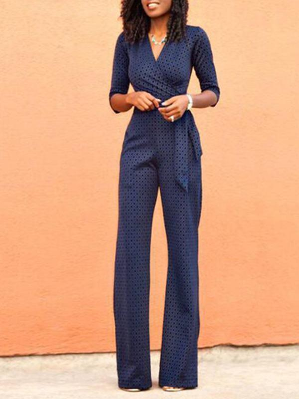 Jumpsuits - Blue Print Tie Jumpsuit