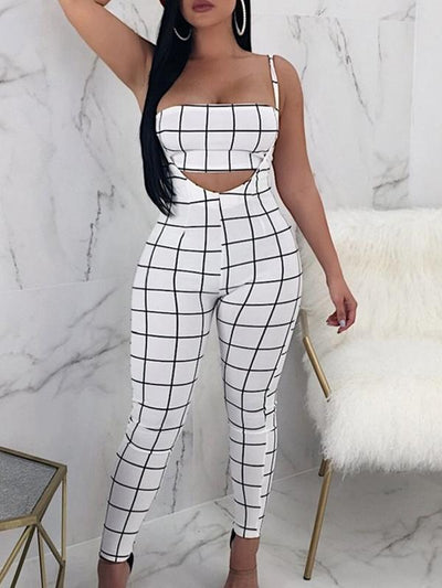 Jumpsuits - Checked Bandeau Top Strappy Jumpsuit