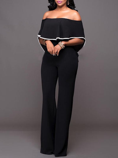 Jumpsuits - Loose Casual Off Shoulder Jumpsuit