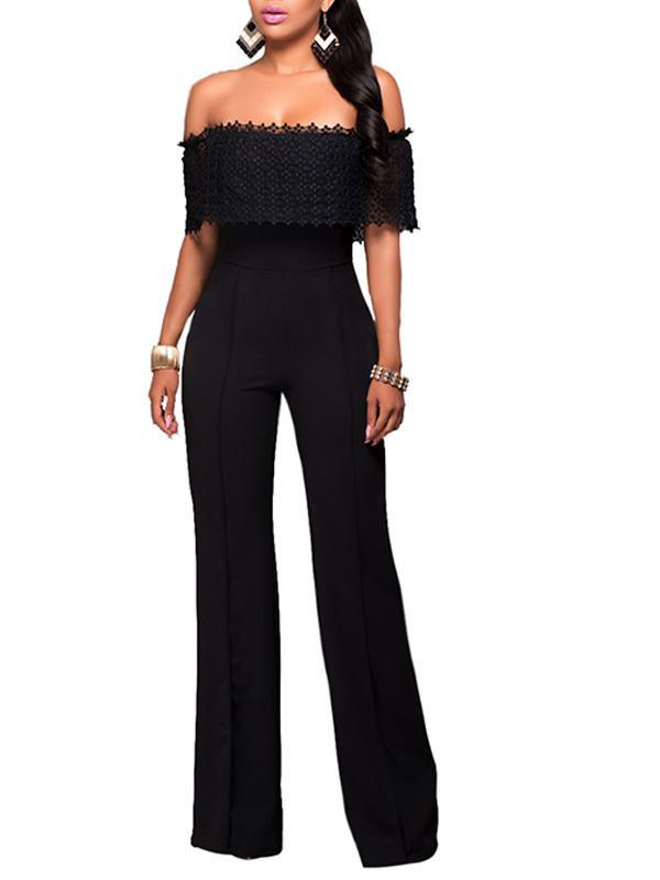 Loose Side Zipper Off Shoulder Jumpsuit