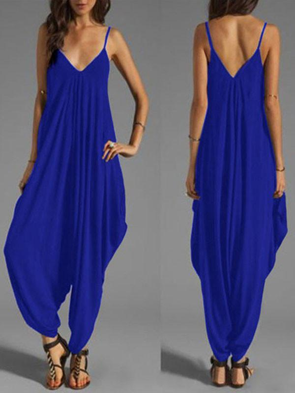 Jumpsuits - Low-Cut V-Neck Figure Flattering Jumpsuit