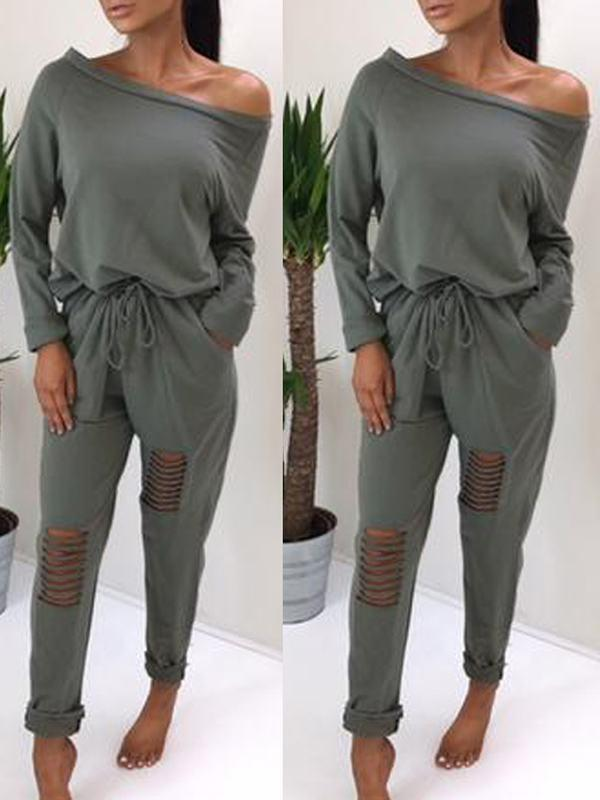 Ripped Knee One Shoulder Jumpsuit