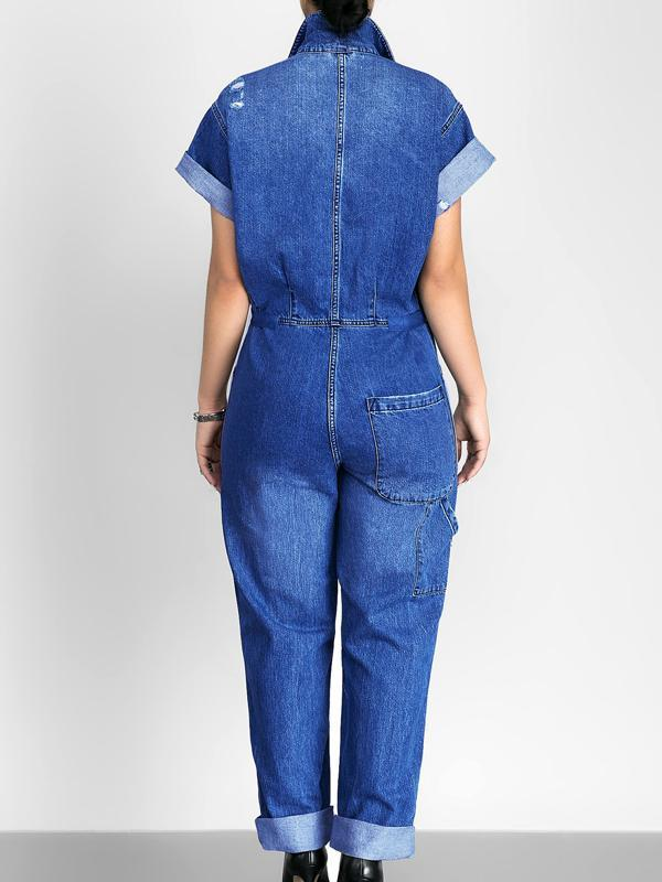 Jumpsuits - Slim Casual Jeans Jumpsuit