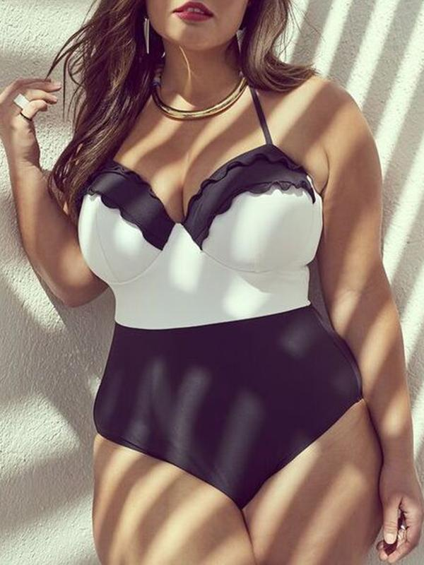 Swimwear - Halter Contrast Black One-piece Swimsuit
