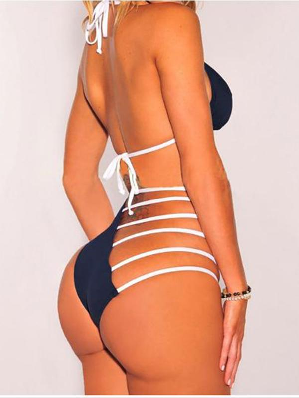 Swimwear - Navy Halter Ladder Bikini
