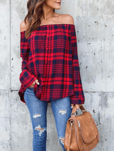 Tops - Checked Boat Neck Long Sleeve Shirt