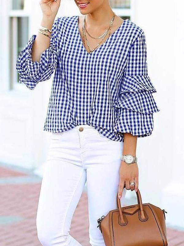 Checked V Plunge Layered Sleeve Shirt