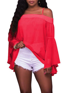 Tops - Chiffon Ruffle Sleeve Blouse