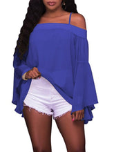 Load image into Gallery viewer, Tops - Chiffon Ruffle Sleeve Blouse