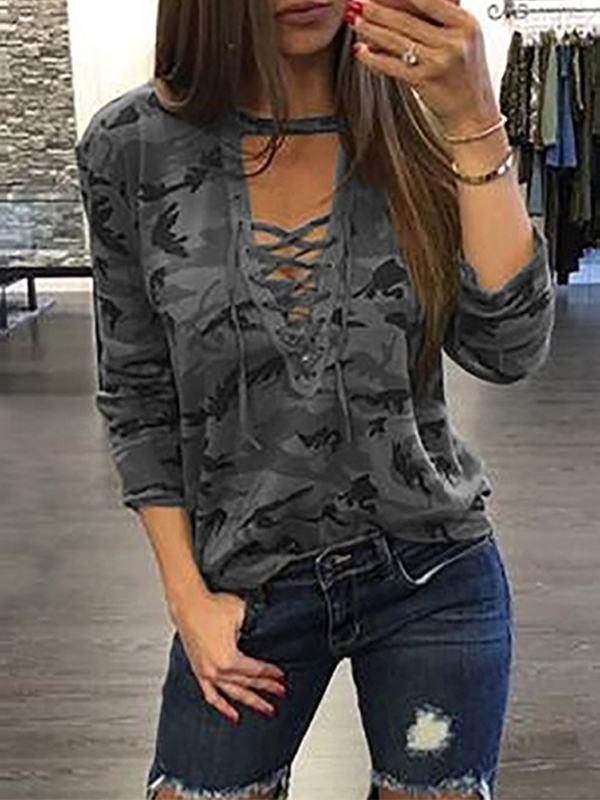 Tops - Deep V Hollow Out Long Sleeve T-shirt