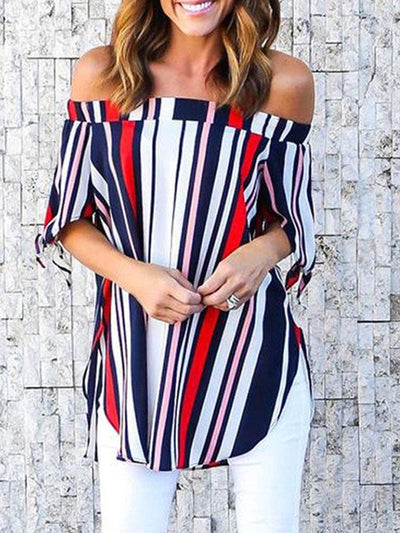 Tops - Off Shoulder Short Striped T-shirt