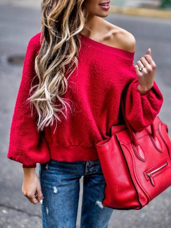 Red One Shoulder Plush Sweats