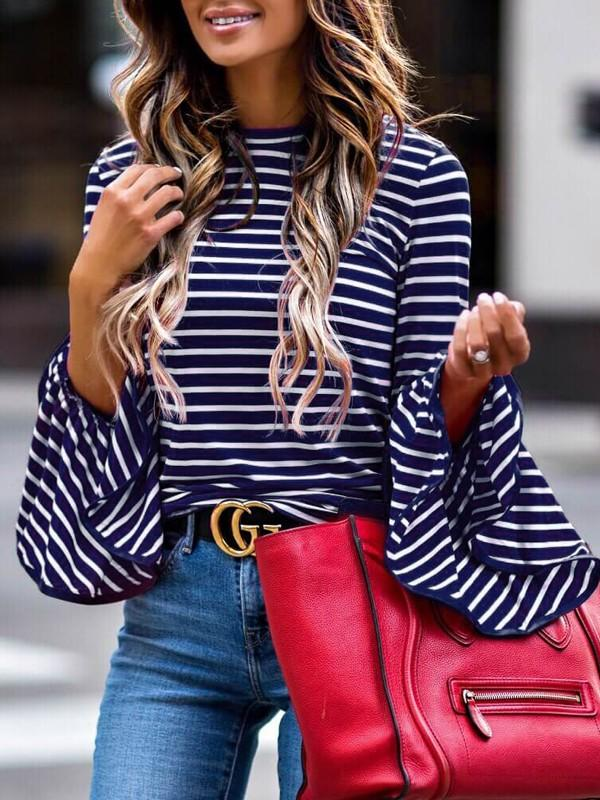 Tops - Striped Bell Sleeve Blouse