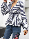 Tops - Striped V Neck Pleated Sleeve Blouse