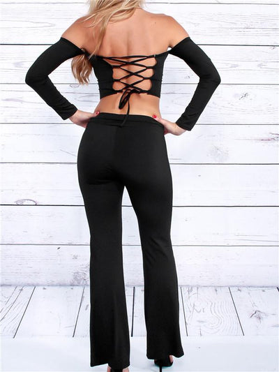 Two Piece - Bardot Crop Top Pants Suit