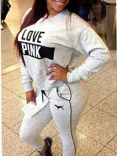 Two Piece - Fleece Grey Love Pink Sportswear