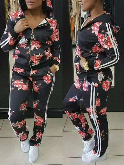 Two Piece - Hooded Print Floral Two Piece