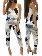 Load image into Gallery viewer, Two Piece - Patchwork Print V Neck Striped Two-piece Pant Set