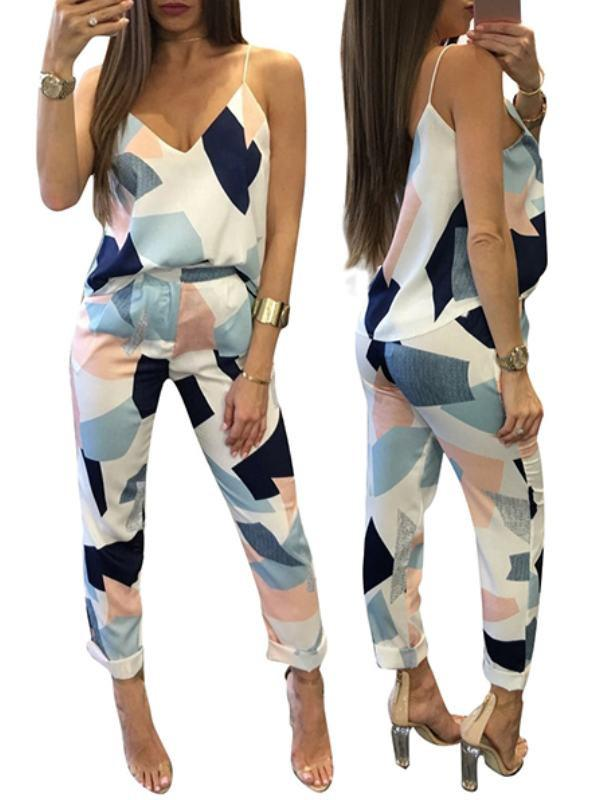 Two Piece - Patchwork Print V Neck Striped Two-piece Pant Set