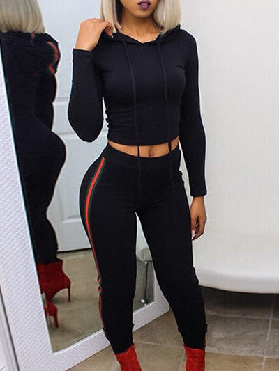 Two Piece - Striped Long Sleeve Sports Suits