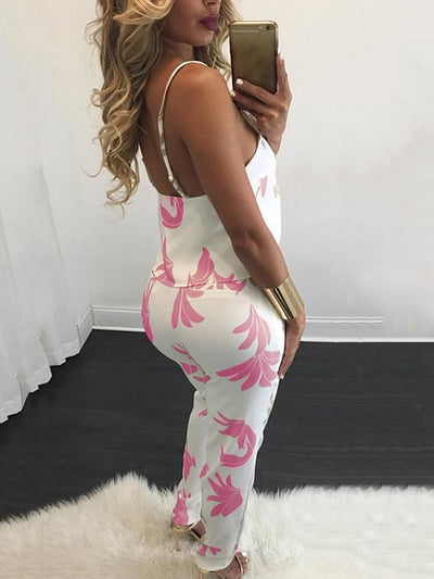 Two Piece - Stylish Printed Spaghetti-strap Pantsuit