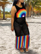 Load image into Gallery viewer, Rainbow Fringe Mesh Cover Up