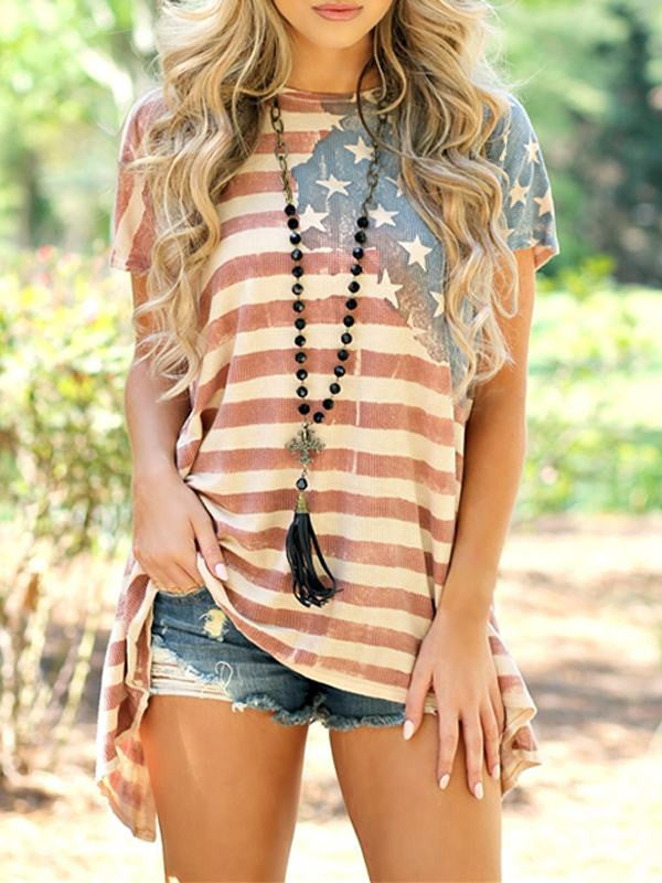 American Flag Print Striped Top