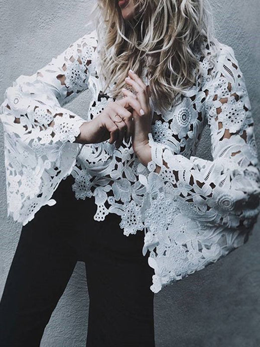 Bell Sleeve Lace White Blouse - Queenfy