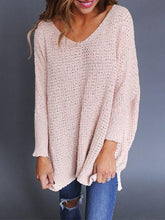 Load image into Gallery viewer, Wide V Neck Long Sleeve Sweater