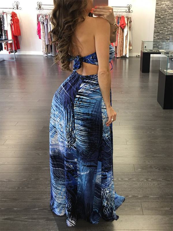 Blue Halter Split Maxi Dress