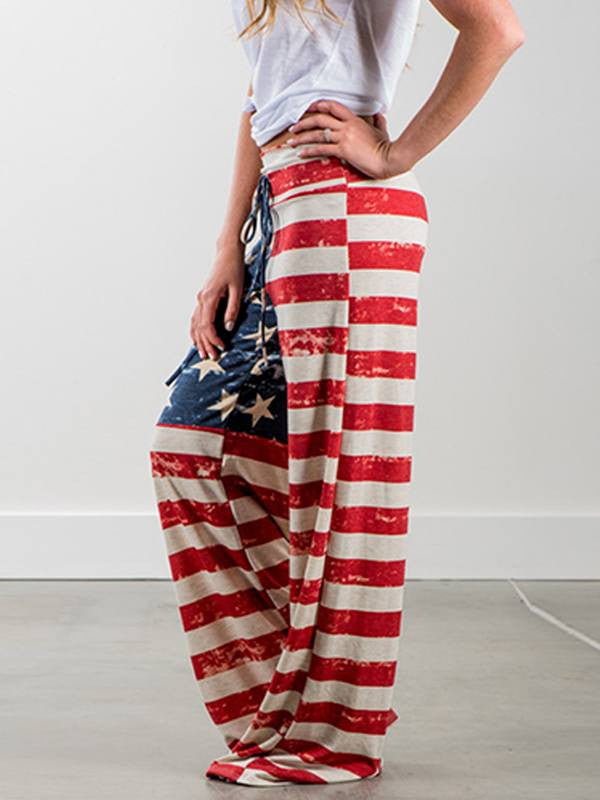 Flag Print Drawstring Waist Loose Pants - Queenfy