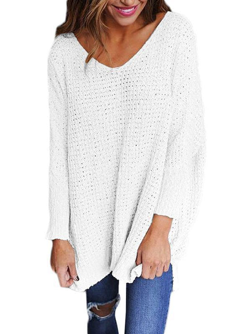 Wide V Neck Long Sleeve Sweater - Queenfy