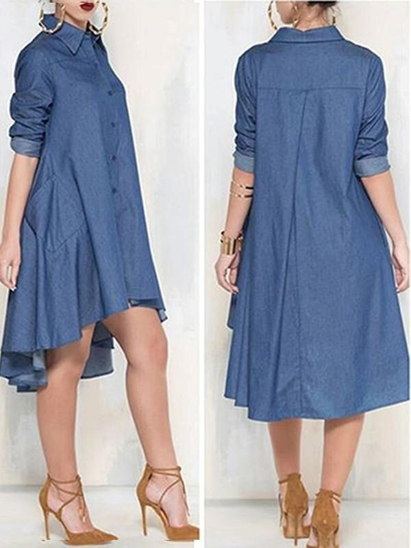 Long Sleeve Casual Denim Dress - Queenfy