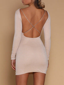 Shiny Crisscross Open Back Bodycon Dress - Queenfy