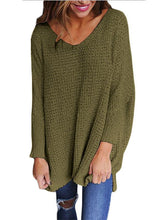 Load image into Gallery viewer, Wide V Neck Long Sleeve Sweater - Queenfy