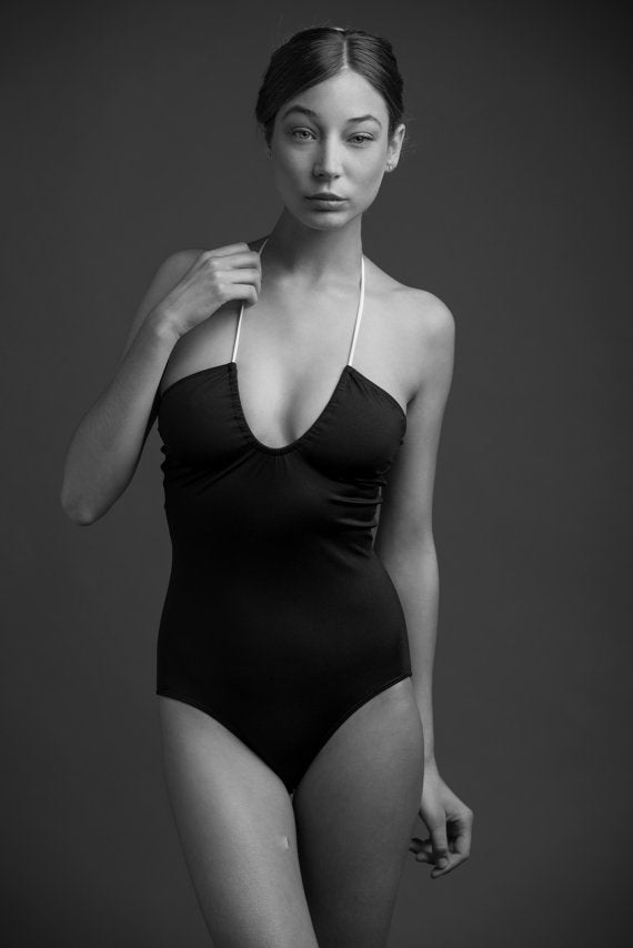 BLACK ONE PIECE SWIMSUIT - U SHAPE