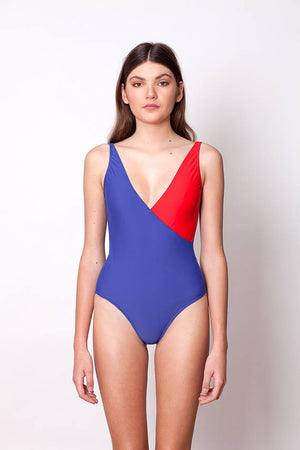 ONE PIECE SWIMSUIT - BLUE & RED