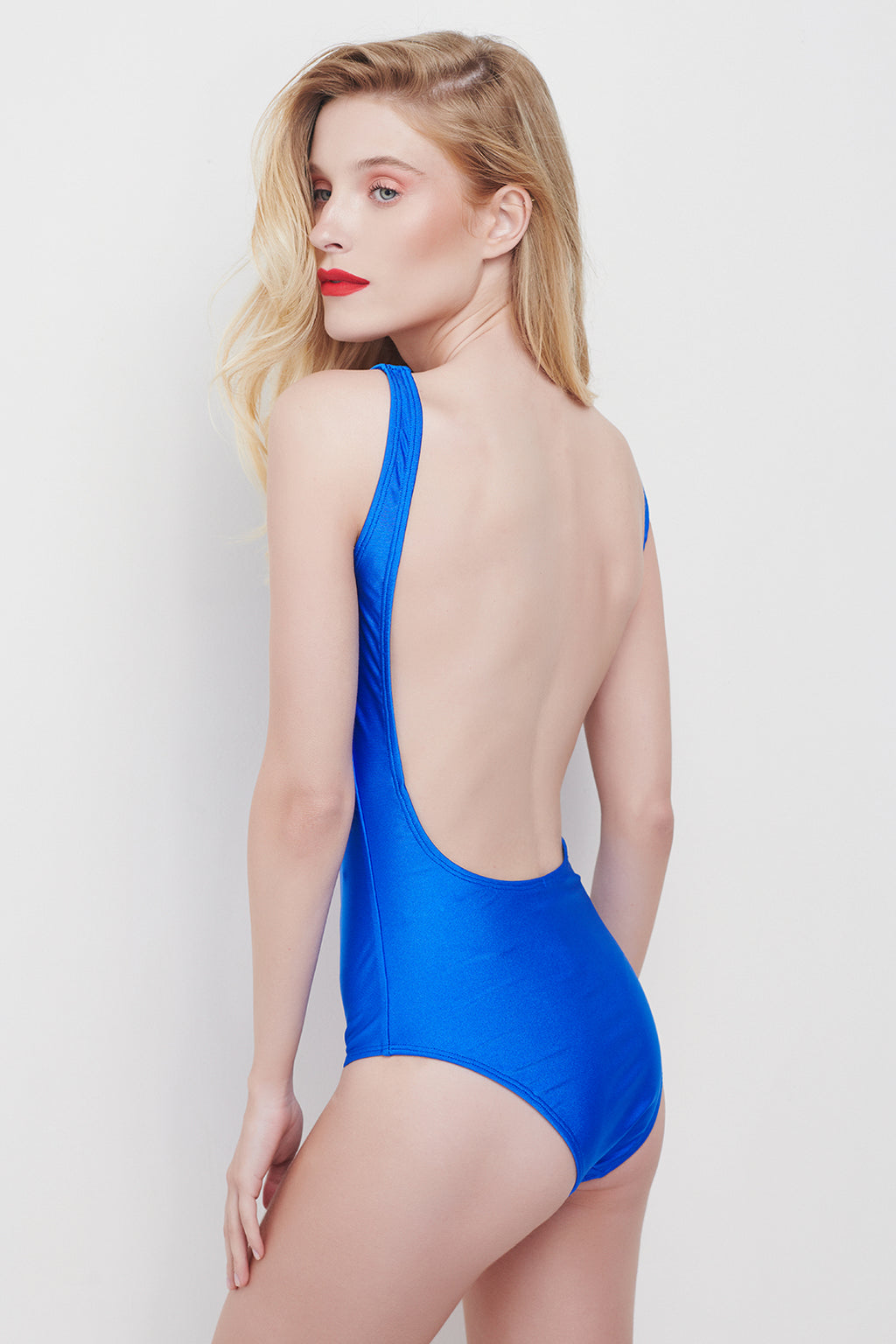 OPEN BACK SWIMSUIT - SHINY BLUE
