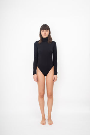 LONG SLEEVES TURTLE NECK BODYSUIT - BLACK