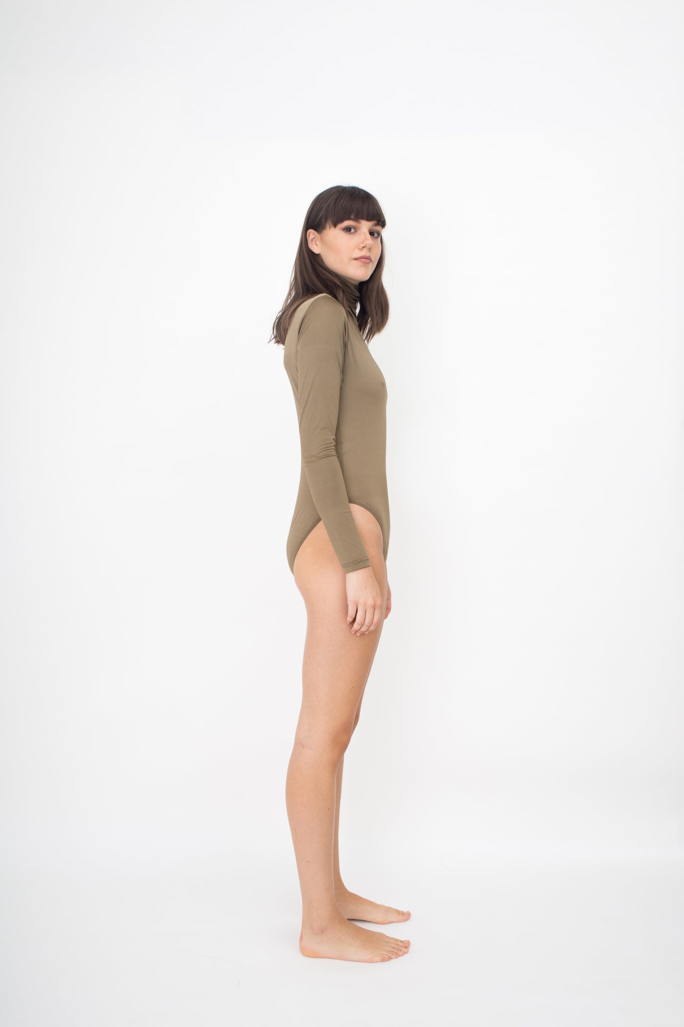 LONG SLEEVES TURTLE NECK BODYSUIT - GOLD