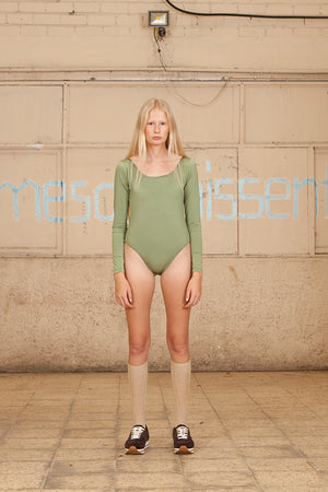 SCOOP NECK BODYSUIT - LEOTARD GREEN