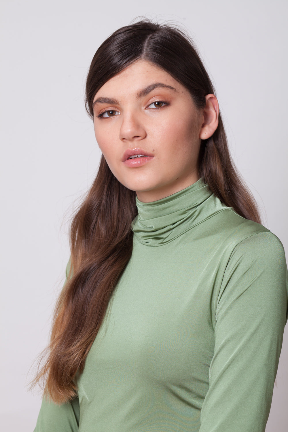 LONG SLEEVES TURTLE NECK BODYSUIT - GREEN