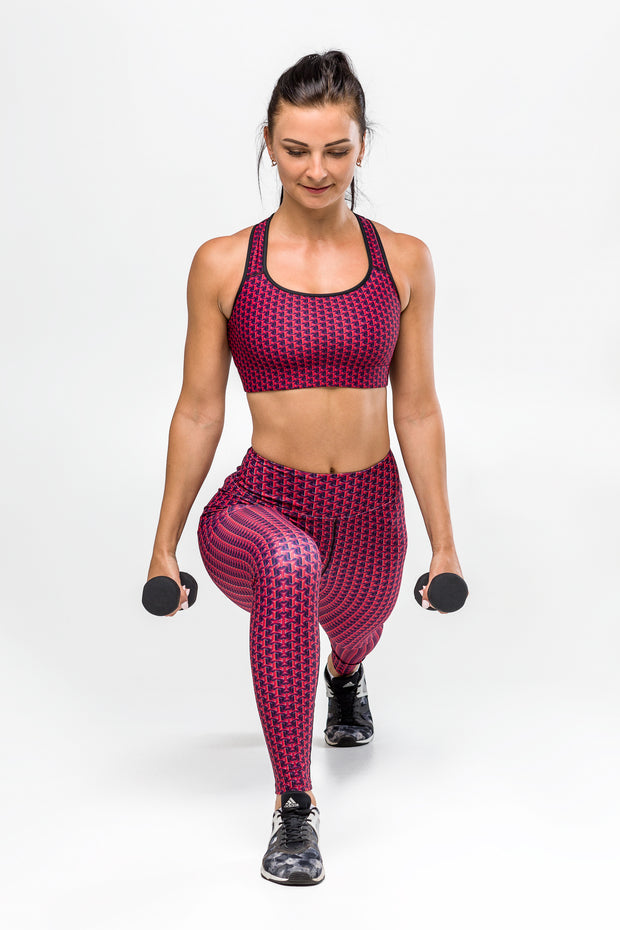 GeoShapes Red Sports bra